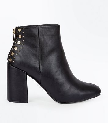 Black Stud Back Square Toe Ankle Boots
