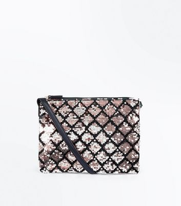 Rose Gold Sequin Zip Top Shoulder Bag