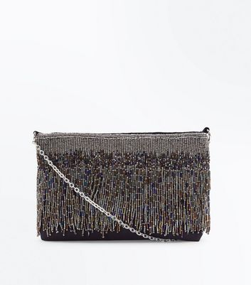 Multi Coloured Beaded Fringe Cross Body Bag