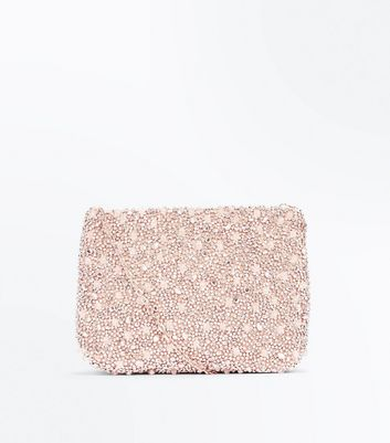 Rose Gold Beaded Flat Clutch Bag