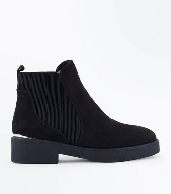 Wide Fit Black Suedette Chunky Sole Ankle Boots