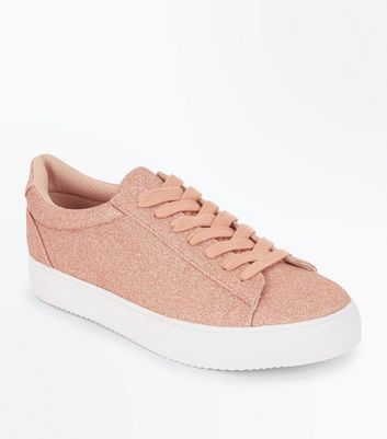 Rose Gold Glitter Lace Up Trainers