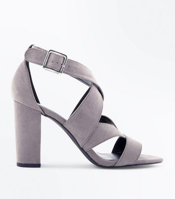 Grey Suedette Strappy Block Heels