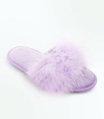 Lilac Faux Feather Strap Slider Slippers
