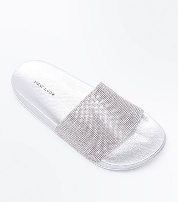 Silver Diamanté Strap Sliders
