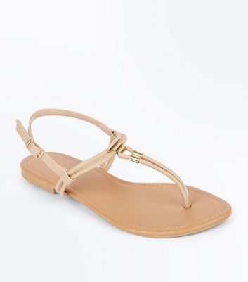 Nude Metallic Trim Toe Post Sandals