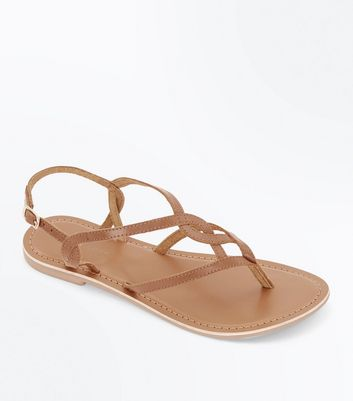 Tan Leather Woven Strap Toe Post Sandals