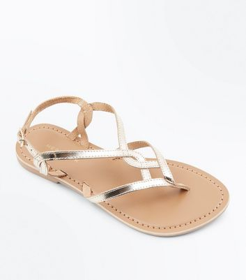 Gold Leather Woven Strap Toe Post Sandals