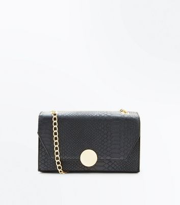 Black Faux Snake Skin Chain Shoulder Bag
