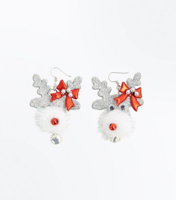 Silver Glitter Bell Christmas Reindeer Earrings