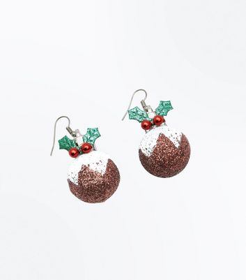 Christmas Pudding Bauble Earrings