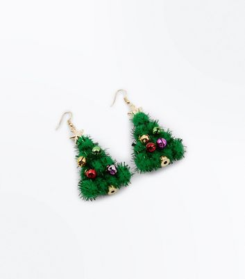 Christmas Tree Tinsel Earrings