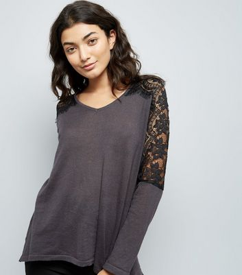 Mela Grey Lace Shoulder Jumper