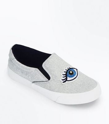 Teens Silver Glitter Eye Embroidered Slip On Trainers