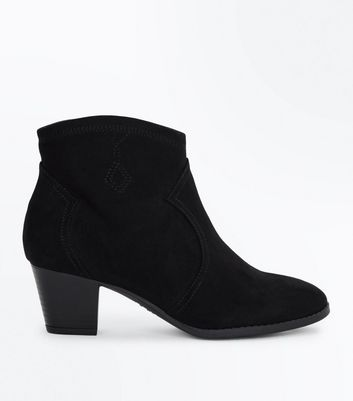 Teens Black Suedette Heeled Western Boots