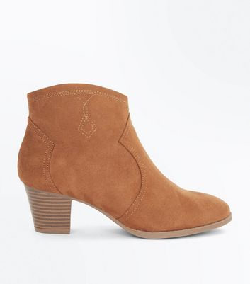 Teens Tan Suedette Heeled Western Boots
