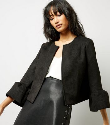 Black Bell Sleeve Suedette Jacket