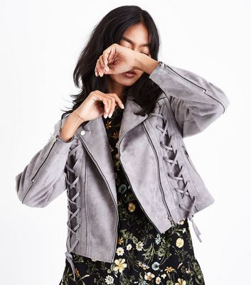 Grey Suedette Lace Up Biker Jacket