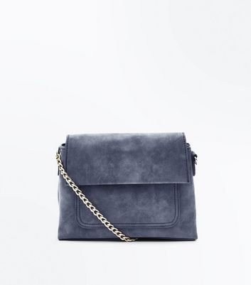 Dark Grey Fold Top Cross Body Bag