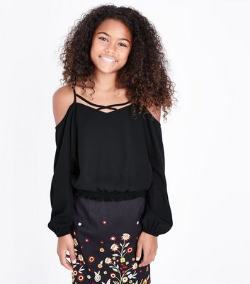 Teens Black Lattice Neck Shirred Hem Top