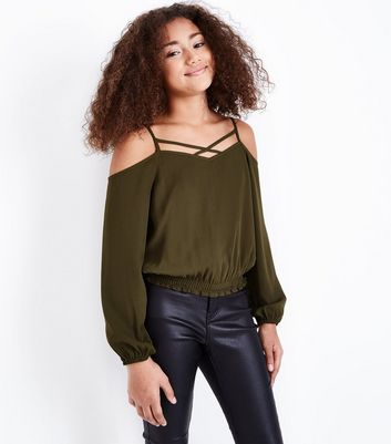 Teens Khaki Lattice Neck Shirred Hem Top