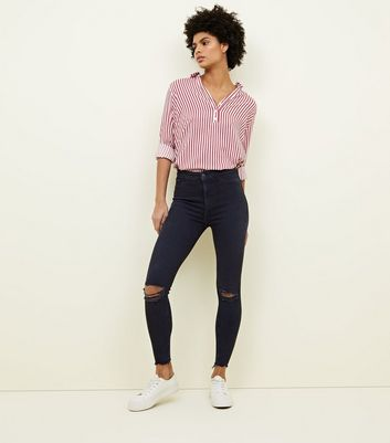 Black High Waist Ripped Super Skinny Hallie Jeans