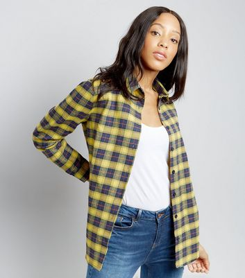 Parisian Yellow Check Dip Hem Shirt