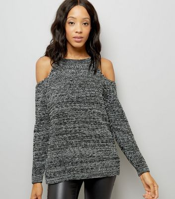 Black Textured Cold Shoulder Jumper