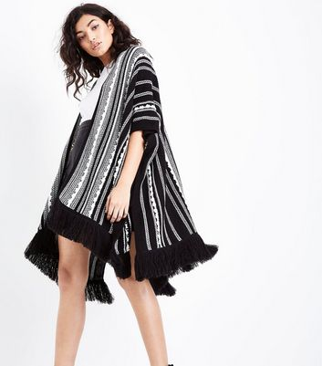 Black Stripe Fringe Trim Draped Cardigan