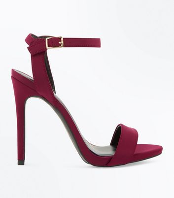 Burgundy Satin Stiletto Heel Sandals