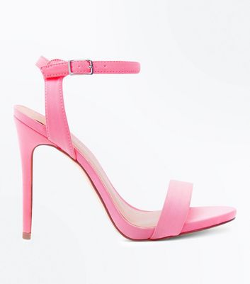 Bright Pink Satin Stiletto Heel Sandals