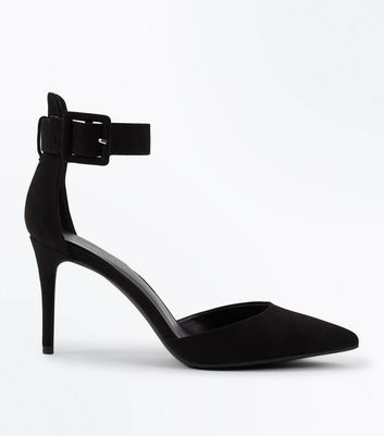 Black Suedette Chunky Ankle Strap Pointed Courts