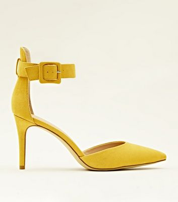 Mustard Suedette Wide Ankle Strap Pointed Courts