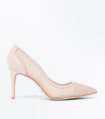 Nude Mesh Pointed Court Shoes