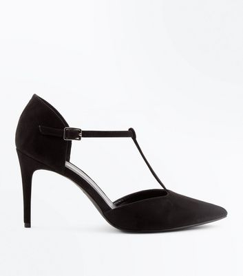 Black Suedette T-Bar Pointed Court Shoes