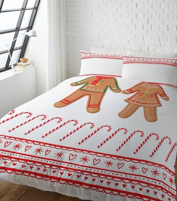 Red Gingerbread Couple Double Duvet Set