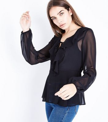 Black Chiffon Frill Front Top