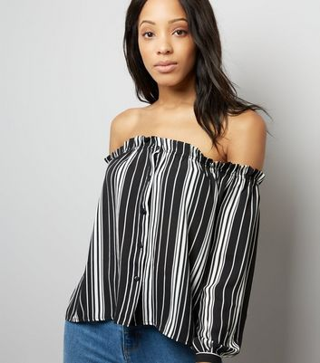 Cameo Rose Stripe Button Front Bardot Neck Top