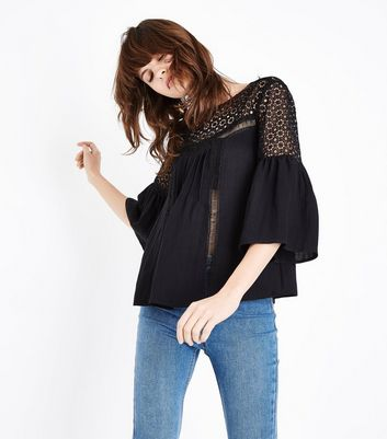 Black Crochet Yoke Flutter Sleeve Top