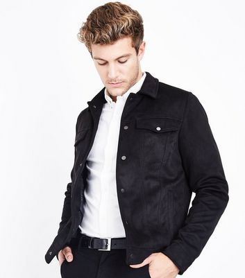 Black Suedette Denim Jacket