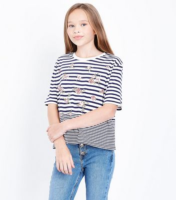 Teens Blue Floral Stripe T-shirt