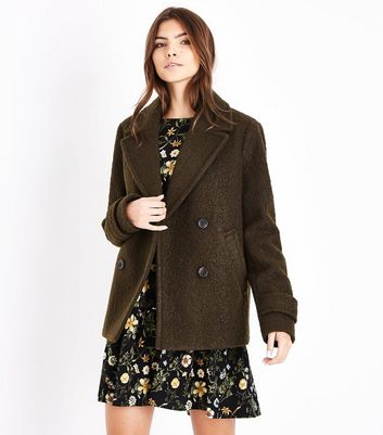 Khaki Textured Pea Coat