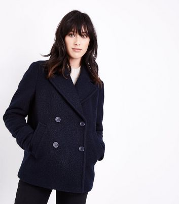 Navy Textured Pea Coat