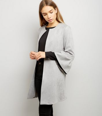 Cameo Rose Grey Suedette Frill Sleeve Longline Jacket