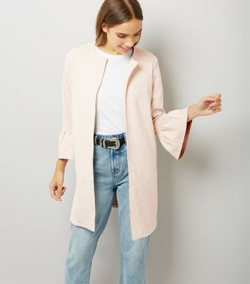 Cameo Rose Shell Pink Suedette Frill Sleeve Longline Jacket