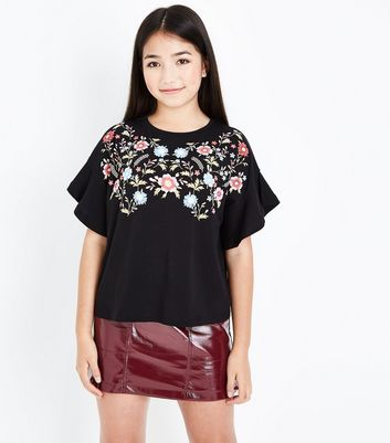 Teens Black Floral Embroidered Frill Sleeve Top