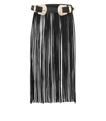 Black Fringe Trim Waist Belt