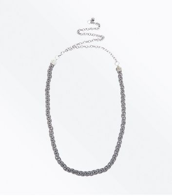 Silver Diamante Plait Chain Belt