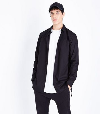 Black Tape Side Longline Shirt
