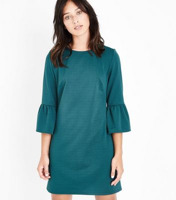 Green Bell Sleeve Jersey Tunic Dress